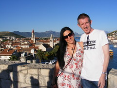 US, on top of the world:) Trogir Summer 2016 (seanfderry-studenna) Tags: nina sean couple married husband wife pair pose posing posed trogir kamerlengo fort fortress castle stone ancient adriatic coast croatia croatian irish serb male female man woman boy girl buildings vacation holiday happy smiling smiles dress brunette long hair cuddle balkans europe european public outside outdoor sky blue sunglasses beauty beautiful stunning sunshine summer august 2016 tourists tourism people persons