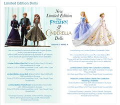 Frozen & Cinderella Live Action LE dolls announcement (Spirophyton) Tags: disney store uk website limited edition dolls release schedule cinderella frozen live action platinum