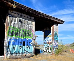 abandoned, bayshore roundhouse, burned out, graffiti, railroad, Southern Pacific (David McSpadden) Tags: bayshoreroundhouse railroad southernpacific