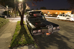 CU SOON (Curtis Gregory Perry) Tags: cadillac hearse ambulance 1972 1971 night longexposure black wagon pdx northwest 11th avenue southeast se tree shadow car automobile old classic vintage auto nikon d800e death cemetery mortician undertaker rescue paramedic