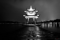 Shadows in the Night (Dark Floors) Tags: lake hangzhou china shadows long exposure reflections people night lights mountains nightscape pavilion corridor pattern water chinese architecture black white west