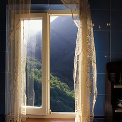Relaxing in my bathtub with an unspoiled view (Bn) Tags: blue trees homes summer vacation sky people italy house holiday mountains green home church window beautiful weather comfortable river garden bathroom living casa cozy