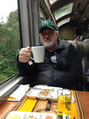 Riding the Rails to Machu Picchu (sfPhotocraft) Tags: me peru cup southamerica hat train baseballhat snack mug trainride perurail railtravel 2013 trainmeal cuzcotomachupicchu