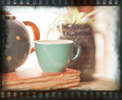 dreaming of breaktime! (starrienight) Tags: lensbaby cookbook indoors teapot 365 dots stoneware