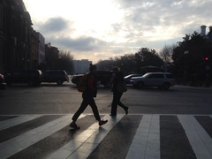 Morning crossing (jacquesofalltrades) Tags: sunrise dc pedestrians crosswalk uploaded:by=flickrmobile flickriosapp:filter=nofilter