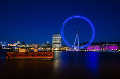 The Blue Eye (Scott Baldock Photography) Tags: city uk bridge blue motion blur reflection london eye westminster festival thames night reflections river photography boat hall long exposure theatre britain great royal shell londoneye ibm southbank waterloo national hour shard riverthames westminsterbridge cityoflondon lwt oldcountyhall cityarchitecture