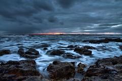 Milk and Water (Lee Summerson) Tags: ocean longexposure sea sky sunlight sunrise canon rocks ships slowshutter blackhallrocks eos1100d