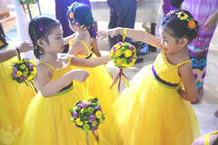 Flower Girls (feryswheel) Tags: flowers wedding girls flower girl yellow sunflower gown headdress littlegirls flowergirls