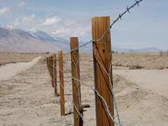Camp Perimeter (Night Owl City) Tags: california usa fence barbedwire manzanar owensvalley inyocounty manzanarnationalhistoricsite