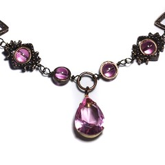 Steampunk Jewelry - Necklace - Pink Faceted Supreme Quality Diamond Cut Glass Gem Stone Jewel - VICTORIAN (Catherinette Rings Steampunk) Tags: