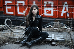Liza (Pavels Dunaicevs) Tags: portrait black girl rock metal port dark evening spring twilight quay berth