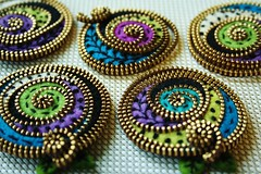 A touch of purple... (woolly  fabulous) Tags: green wool leaves pin brooch felt swirls embroidered freeform frenchknots woollyfabulous