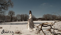 [A princess..?!] (Gaietty) Tags: life wood morning trees winter wedding light portrait sky people woman white house mist snow cold colour tree art ice me nature water girl beauty face field lady female forest self fence project pose hair model eyes hands woods nikon day mood alone branch dress arms legs emotion skin princess artistic wind god body bare faith dream footprints skirt location lips queen health fields strong weddingdress snowwhite lithuania lithuanian lt feelings 2013 nikond40x gaietty