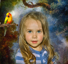 A Cutie Pie (jta1950) Tags: portrait people painterly cute bird texture girl kids female hair children person kid eyes child background blueeyes adorable littlegirl enfant younggirl crisbuscaglialenz silversaltphoto
