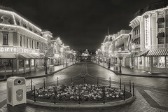 Disneyland Main Street B&W (cstout21) Tags: california ca travel chris vacation blackandwhite usa night clouds lights us unitedstates disneyland disney orangecounty anaheim walt westcoast hdr highdynamicrange sleepingbeauty stout waltdisney mainstreetusa sleepingbeautycastle disneylandresort ngoc canon60d stoutandstout northamera