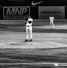 Andy Pettitte's Classic Focus (Paul Katcher) Tags: blackandwhite canada sports baseball newyorkyankees mlb torontobluejays rogerscentre andypettitte