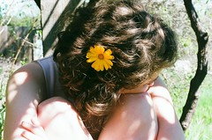 (thesadsundays) Tags: birthday shadow portrait flower yellow 35mm hair daisy tatiana