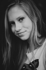 Natasha (Anna Melnichenko Photography) Tags: light portrait blackandwhite bw baby cute art nature girl beauty smile face smiling lady angel canon pose hair happy pretty babies dress little bokeh daughter young happiness jeans blond blonde attractive mysterious straight charming  blueeyed browneyed             mysteriousness               blondbrown