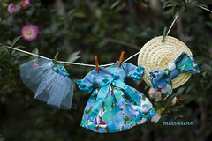 ready to wear - blue (JennWrenn) Tags: blue floral hat doll handmade slip frock blythe ensemble tulle