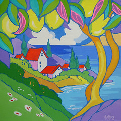 by the Sea Storybook Cottage Series (cottagelover1953) Tags: ocean california original sea tree painting lemon side cottage retro shore series deco storybook whimsical