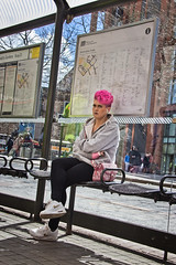 Matching plaster cast (tootdood) Tags: street people bus hair table manchester sitting purple time map candid piccadilly plaster stop cast sit matching sat seated flickrd fromthehip canon600d