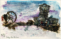 hamburg -Marco Polo Tower (rafaelmucha) Tags: city color tower moleskine water architecture ink notebook sketch hamburg sketchbook bamboo architektur marco polo inking aquarell