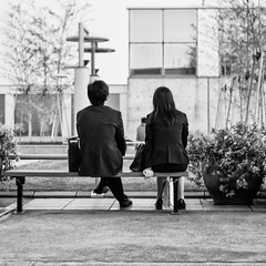 Date? (GavinZ) Tags: street travel people blackandwhite bw japan garden bench kyoto trainstation sit date