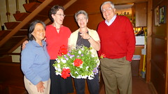 Yvonne Nagel Eleanor & Catherine Rudin & Alex Nagel with flowers, Mary Ellen Memorial Open House, Madison (ali eminov) Tags: friends mathematicians openhouse yvonne catherine alex nagels madison wisconsin sisters eleanor