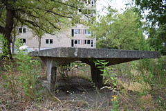Overgrown Ping pong table (baurichter) Tags: berlin monument concrete plattenbau ddr derelict gdr urbanexploring urbex wollenbergerstrasse