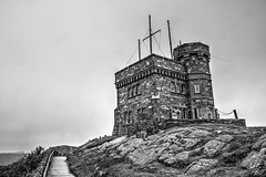 Signal Hill B&W (gorbould) Tags: 2016 newfoundland signalhill stjohns tower cabottower hdr blackandwhite outdoor