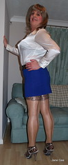 2 Keeping things in line (janegeetgirl2) Tags: transvestite crossdresser crossdressing tgirl tv ts heels sheer shine patterned tights office blue pa blouse secretary satin mini short skirt stilettos high jane gee