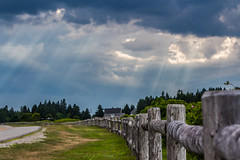 Break in the Storm (Sylvester009 (CLICK*** CLICK***)) Tags: maine machias wooden fence light beam clouds dark green grass canon rebel t5i 18mp 70200 70mm crop sensor is ii