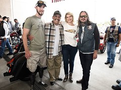 Veteran Sidecar Passenger, Jed Morgan, Danny Trejo, Kristy Swanson and VCR Founder, Ndn Dave #VCR2016 #MotorcycleTherapy #SupportOurVets Indian Motorcycle