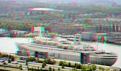 SS Rotterdam 3D (wim hoppenbrouwers) Tags: anaglyph stereo redcyan view from euromast ssrotterdam 3d boat vessel steamboat rotterdam