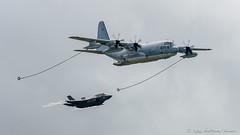 Refuelling demo: KC-130J tanker and F-35 (DrAnthony88) Tags: kc130jherculesaerialtanker modernmilitary nikkor200400f4gvrii nikond810 raffairford riat2015 royalinternationalairtattoo2015 aircraft c130 f35 stealth tanker