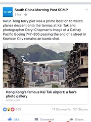 My photos featured in the SCMP, 19/08/2016 (Daryl Chapman Photography) Tags: newspaper scmp kaitak hongkong china sar published happy history closed boeing 747 743 cx cpa famous photo photography airport aviation like likes