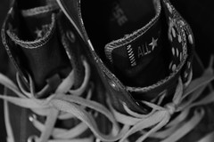 Converse Star - Explored 8.23.16 (Melissa_JMH) Tags: star macromonday stars nikon d700 nikond700 28300 shoes converse macro bw monochrome explore label mono labels brand brands symbol lace laces stitching