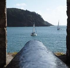 Target in front (Hammerhead27) Tags: aim fort black water sea target uk devon coast sailing boat gun cannon dartmouthcastle