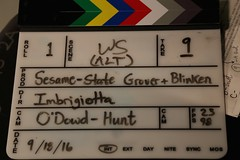 """A Photo of a Clapper Board Showing Deputy Secretary Blinken's Meeting With Sesame Street's """"Grover"""" to Talk About Refugees (U.S. Department of State) Tags: antonyblinken grover unga sesamestreet newyork"""