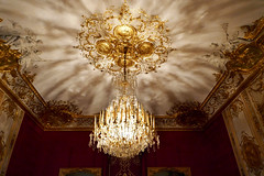 Elegant chandelier and gold ceiling ornamentation - Hotel Subise, Paris (Monceau) Tags: chandelier gold ceiling ornamentation light diffused hteldesoubise archivesnationales paris shadows sumptuous