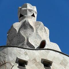 barcelona casa mila (2) (kexi) Tags: barcelona catalonia spain europe square gaudi architecture sky blue casamila samsung wb690 september 2015 mosaic white instantfave