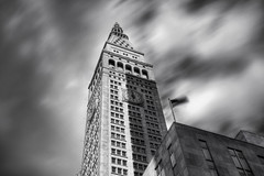 12 O'clock Shadow (Tim Drivas) Tags: city newyorkcity longexposure blackandwhite tower architecture clouds skyscraper clocktower gothamist metlife hdr metlifetower longwayup cloudmovement