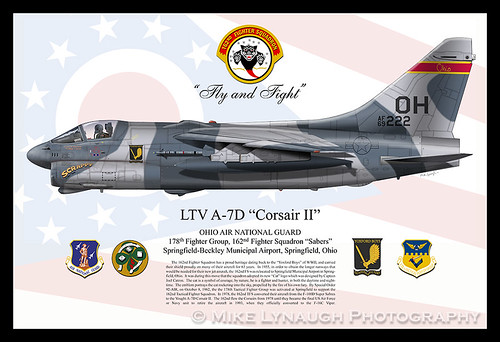 "162nd Fighter Squadron / 178th Fighter Group A-7D Corsair II ""Scrappy"" - Profile Drawing by Mike Lynaugh"