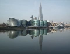 South Reflected (dhcomet) Tags: reflection london thames skyscraper river cityhall calm hmsbelfast shard warship morelondon tallest