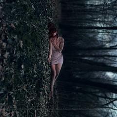 To Wilt (Katharine Hannah.) Tags: blue trees sky selfportrait green girl forest dark moss woods dress mud bokeh surreal dirt teen concept katharinehannah