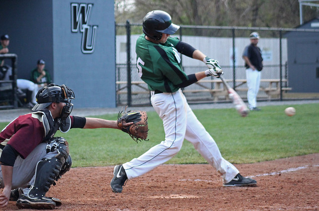 Wilmington University batter Kyle Lindstrom (25) connects for a hit during the ninth inning of their NCAA baseball game against Kutztown University at Wilson Field in New Castle, Del., on April 18, 2013. Photo credit: Shelly Parks.