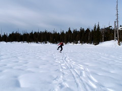 this ice is solid right? (limbot) Tags: people snow goofy snowshoeing tetrahedron batchelorlake