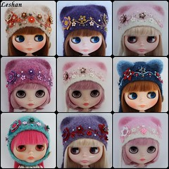 Big order finished (Leshan1) Tags: hat doll crochet helmet lilac blythe leshan kittyhelmet feltedhat blythehat dollcrochet blythecrochet blythehelmet leshancrochet leshanhats leshanhelmets