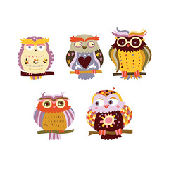 Cute Owls (Adina C) Tags: cute illustration colorful vector cuteanimals childrenillustration contemporaryillustration freelanceillustrator