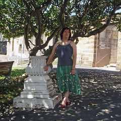 By The Plinth (justplainrachel) Tags: red cute green grey tv rachel shoes top cd sydney silk skirt tranny crossdresser kmart cockatooisland heritagesite justplainrachel